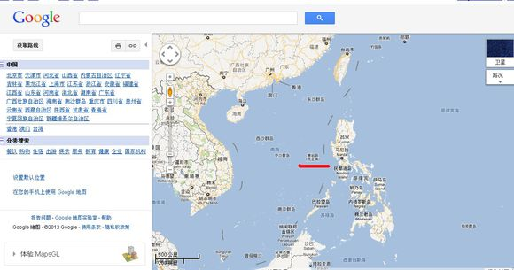 google地图欧洲-菲民众不满谷歌地图标注黄岩岛 要求更名