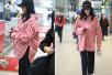 杨幂机场街拍秀红色条纹衫私服