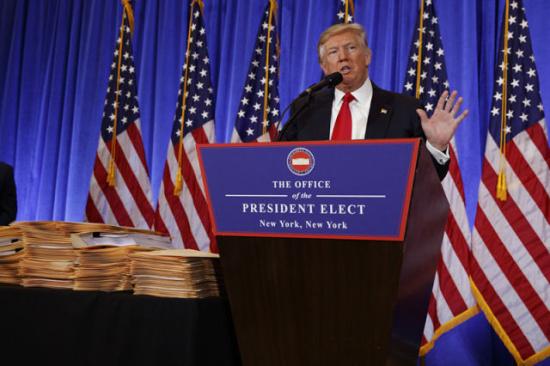 北京 纽约/1月11日,美国候任总统特朗普在纽约举行的记者会上讲话。(新华...
