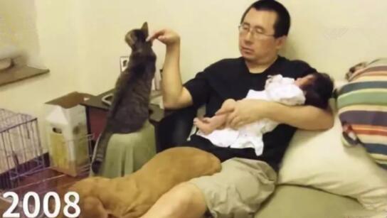 父亲晒和女儿10年对比照!网友:别人爸爸从不让我失望