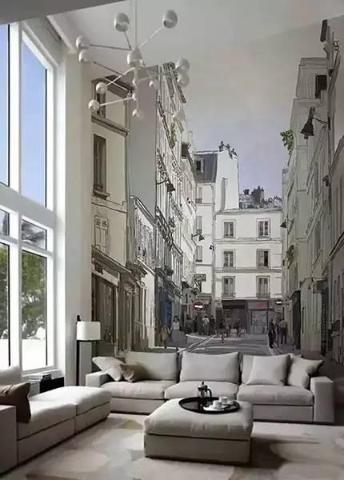 立体的图画造就的背景墙,两旁是高大的建筑,好像深处在闹市区,给人一种穿越之感。