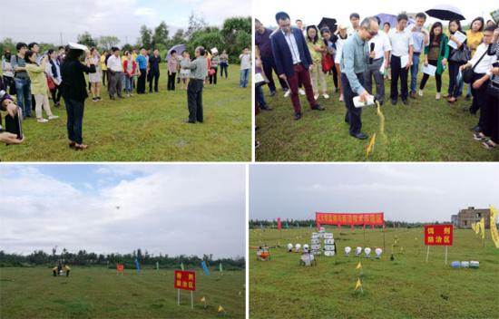 培训期间,参会代表观摩了海南省文昌市红火蚁无人机撒播饵剂防治演示