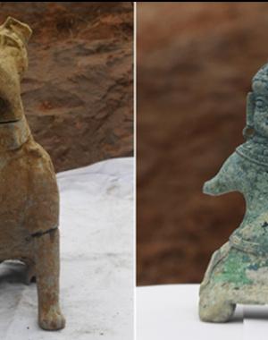 """成都发现大规模汉代崖墓群 内含""""西域风""""铜像"""